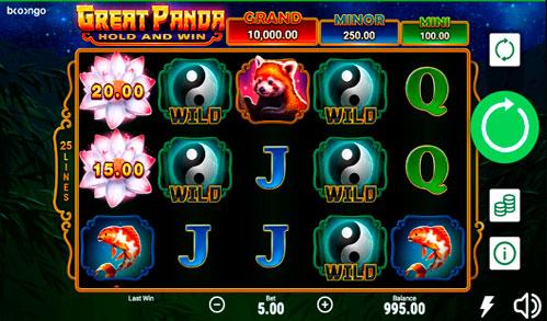 Мобільна версія автомата Great Panda на гроші