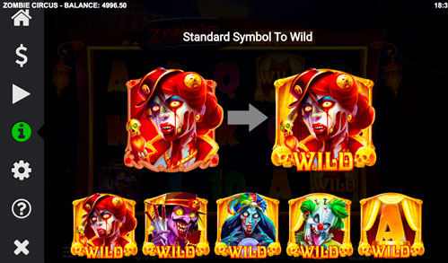 Zombie Circus Бонусні Обертаном та вибір дикого символу